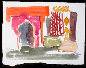 Eingang zur Moschee | Aquarell auf Büttenpapier |circa 13 x 17 cm | 2018