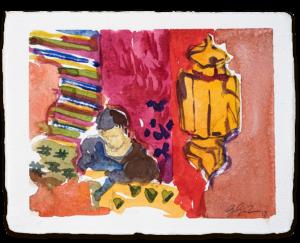 Im Teppichbasar | Aquarell auf Büttenpapier | circa 13 x 17 cm | 2018