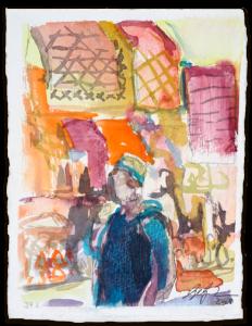 Auf dem Place des Éspices | Aquarell auf Büttenpapier | circa 17 x 13 cm | 2018